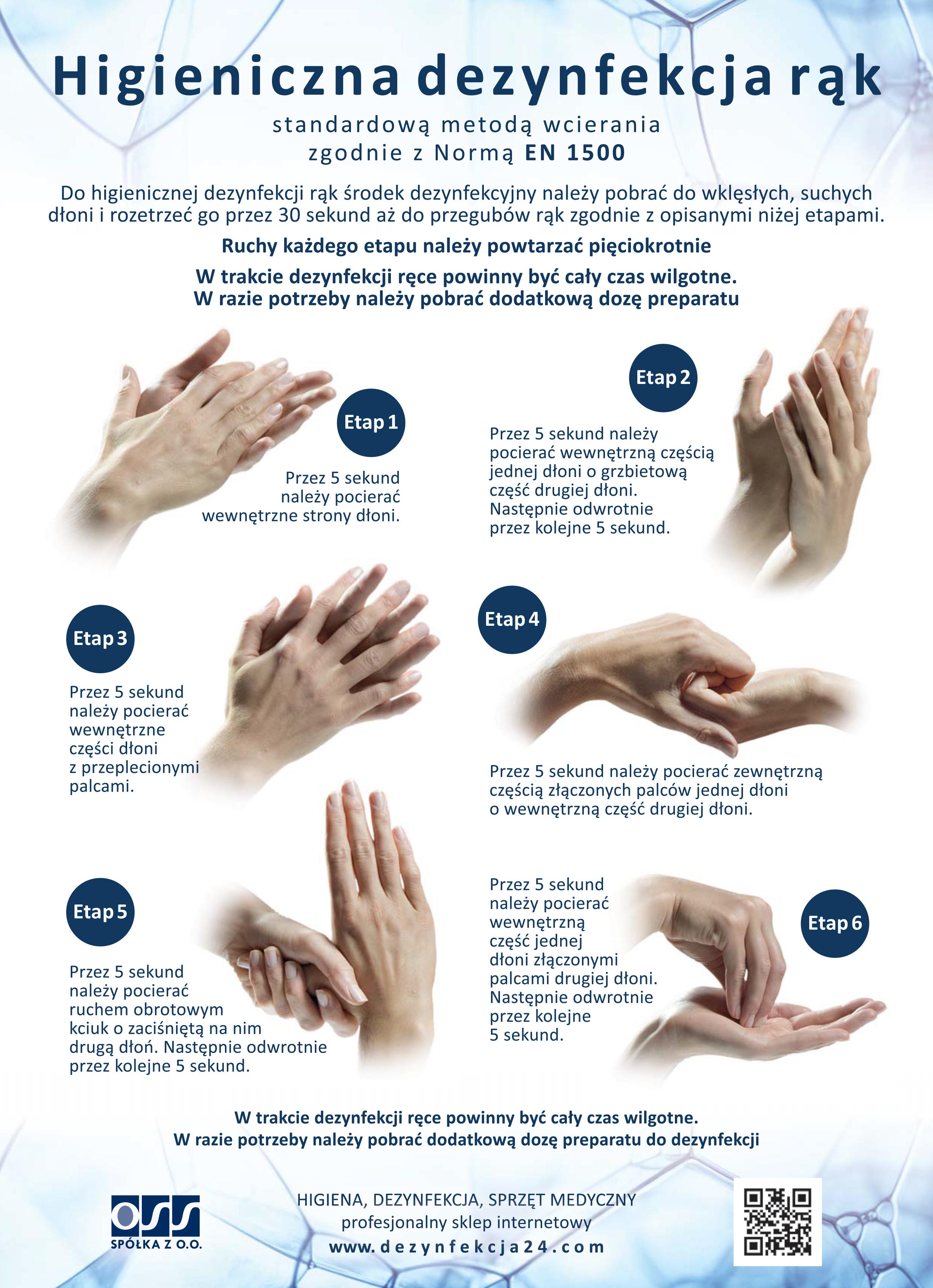 Instrukcja dezynfekcji rąk wg. EN 1500