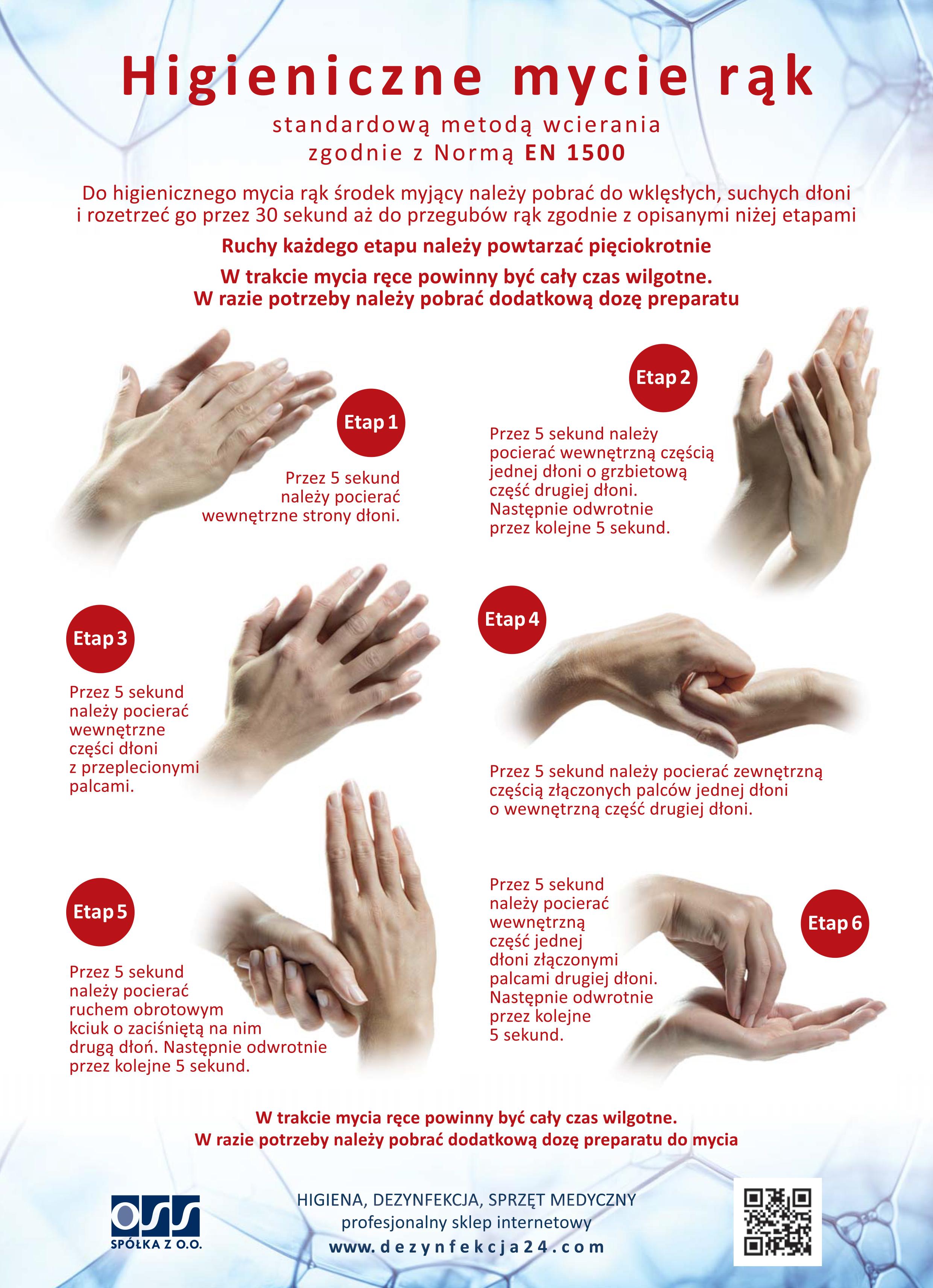 Instrukcja mycia rąk wg. EN 1500