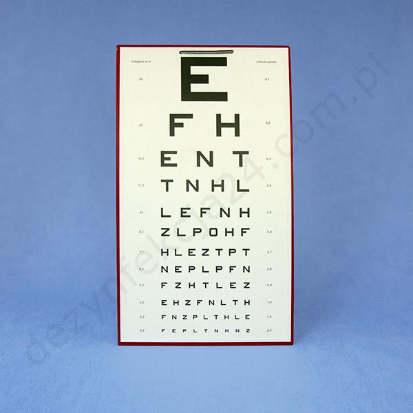 tablica okulistyczna literowa E