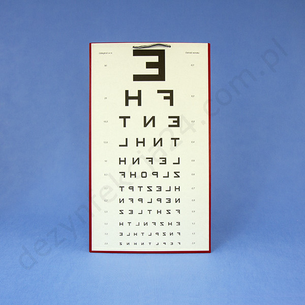 tablica Snellena literowa E odwrócona