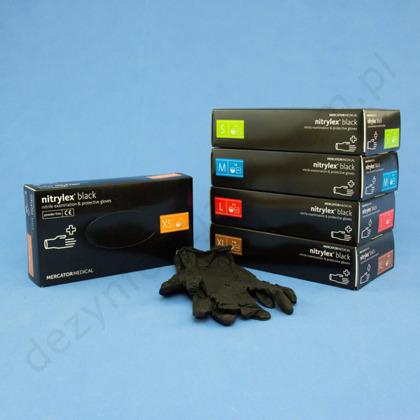 czarne rękawiczki nitrylowe